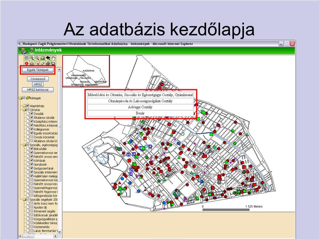 Az adatbázis kezdőlapja