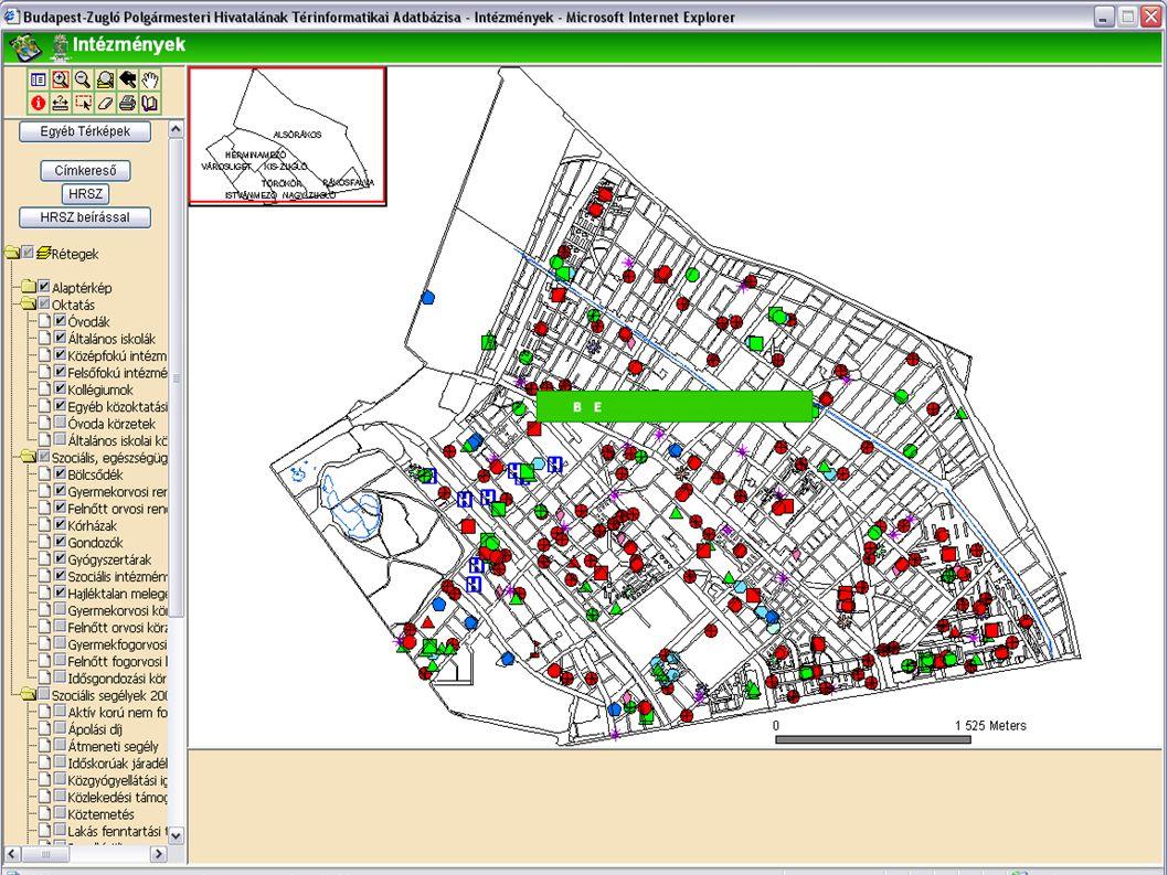 A térképi réteg illetve leíró adatok frissítése használat közben