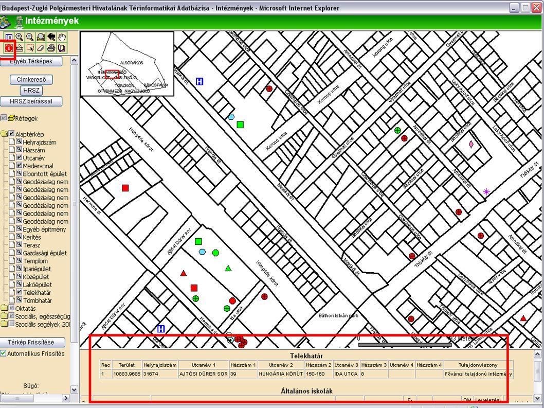 Térképi azonosítás Információ lekérdezése az adatbázisból