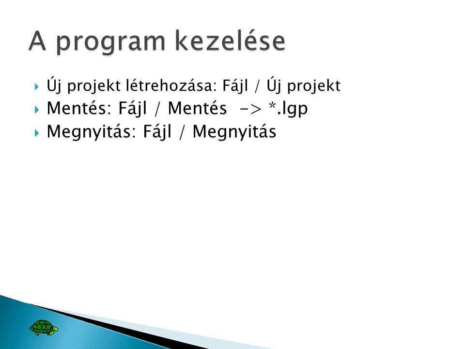 A program kezelése Mentés: Fájl / Mentés -> *.lgp