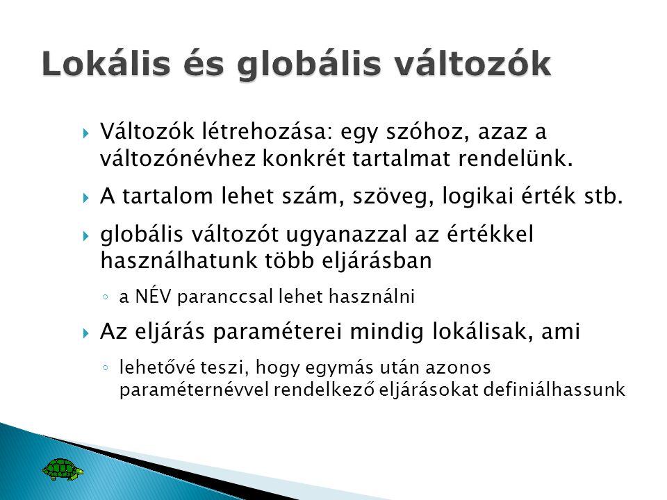 Lokális és globális változók