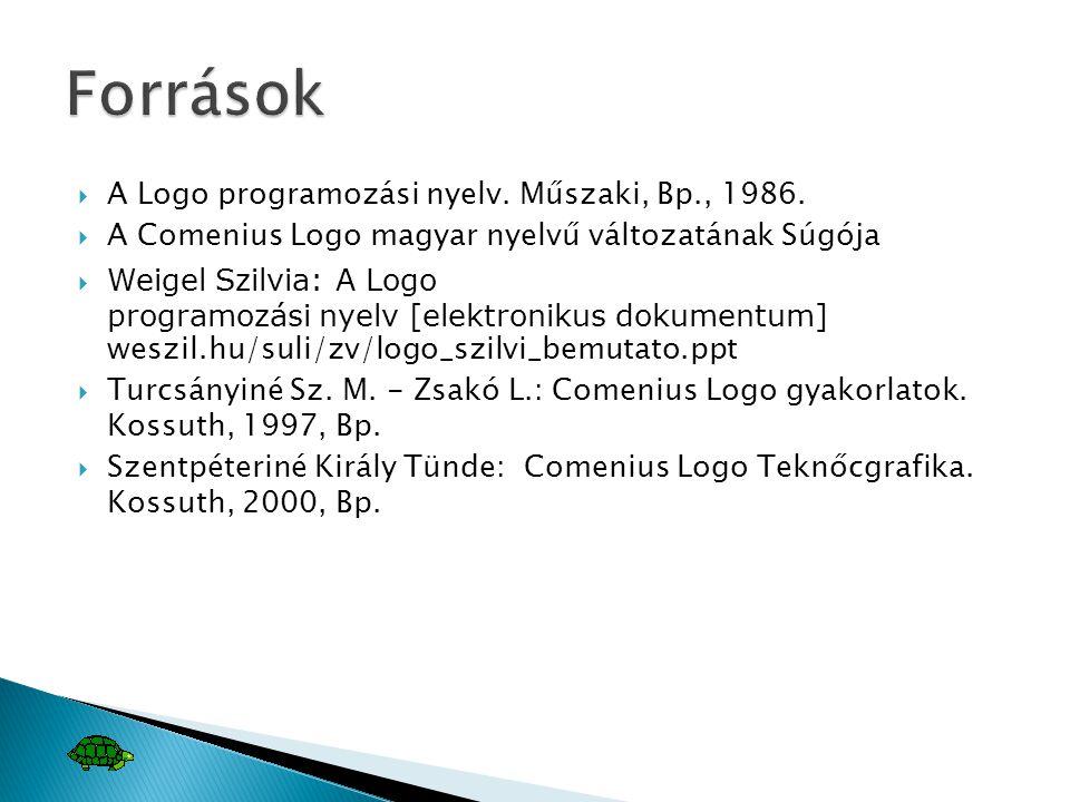 Források A Logo programozási nyelv. Műszaki, Bp., 1986.