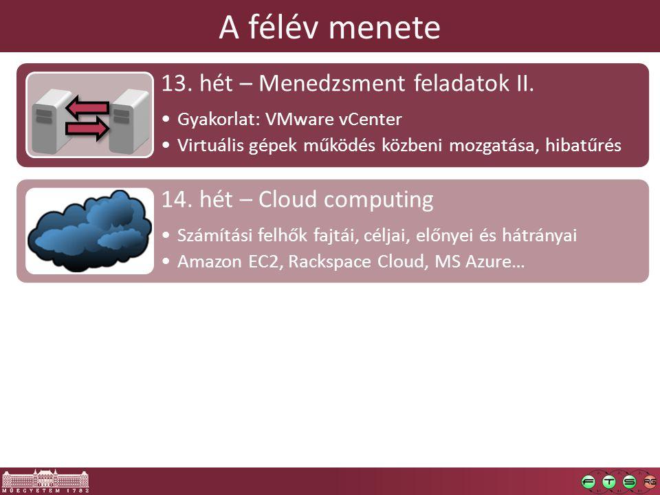 A félév menete 13. hét – Menedzsment feladatok II.