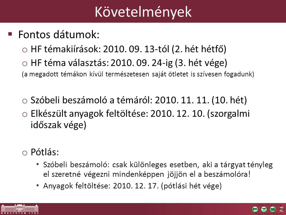 Követelmények Fontos dátumok: