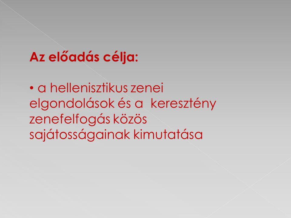 Az előadás célja: a hellenisztikus zenei elgondolások és a keresztény zenefelfogás közös sajátosságainak kimutatása.