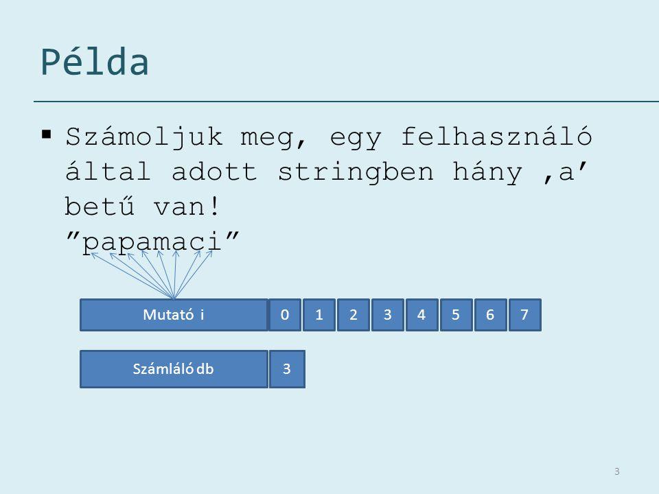 Példa Számoljuk meg, egy felhasználó által adott stringben hány 'a' betű van! papamaci Mutató i.