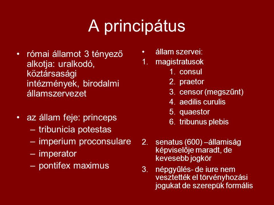 A principátus római államot 3 tényező alkotja: uralkodó, köztársasági intézmények, birodalmi államszervezet.