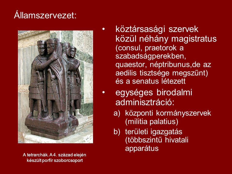 A tetrarchák. A 4. század elején készült porfír szoborcsoport