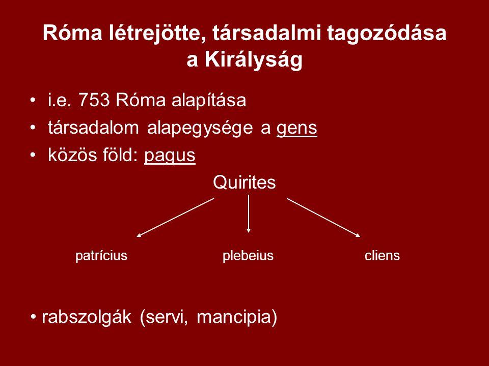Róma létrejötte, társadalmi tagozódása a Királyság
