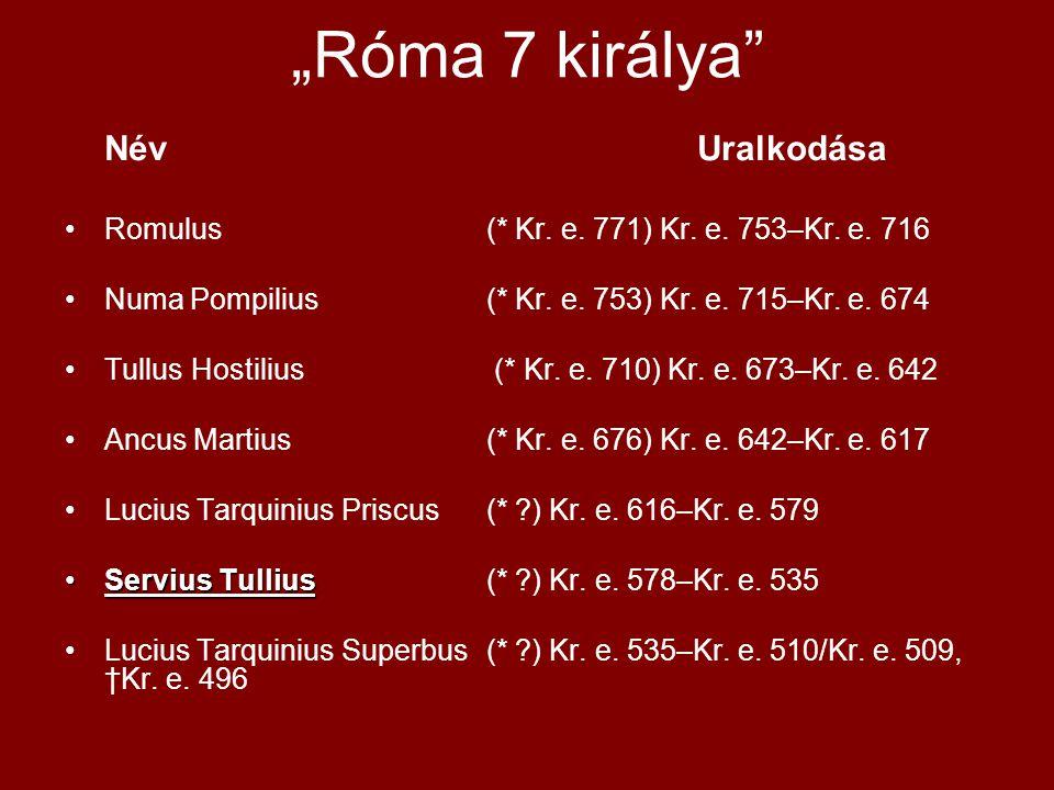 """""""Róma 7 királya Név Uralkodása"""