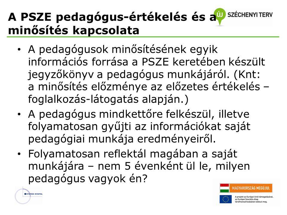 A PSZE pedagógus-értékelés és a minősítés kapcsolata