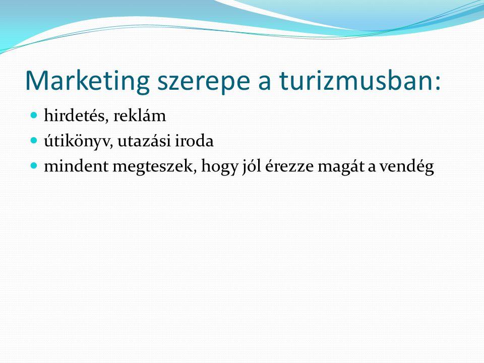 Marketing szerepe a turizmusban: