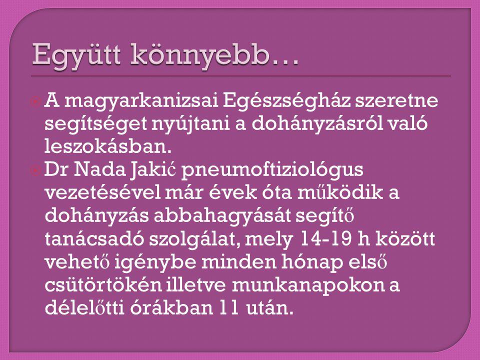 Együtt könnyebb… A magyarkanizsai Egészségház szeretne segítséget nyújtani a dohányzásról való leszokásban.