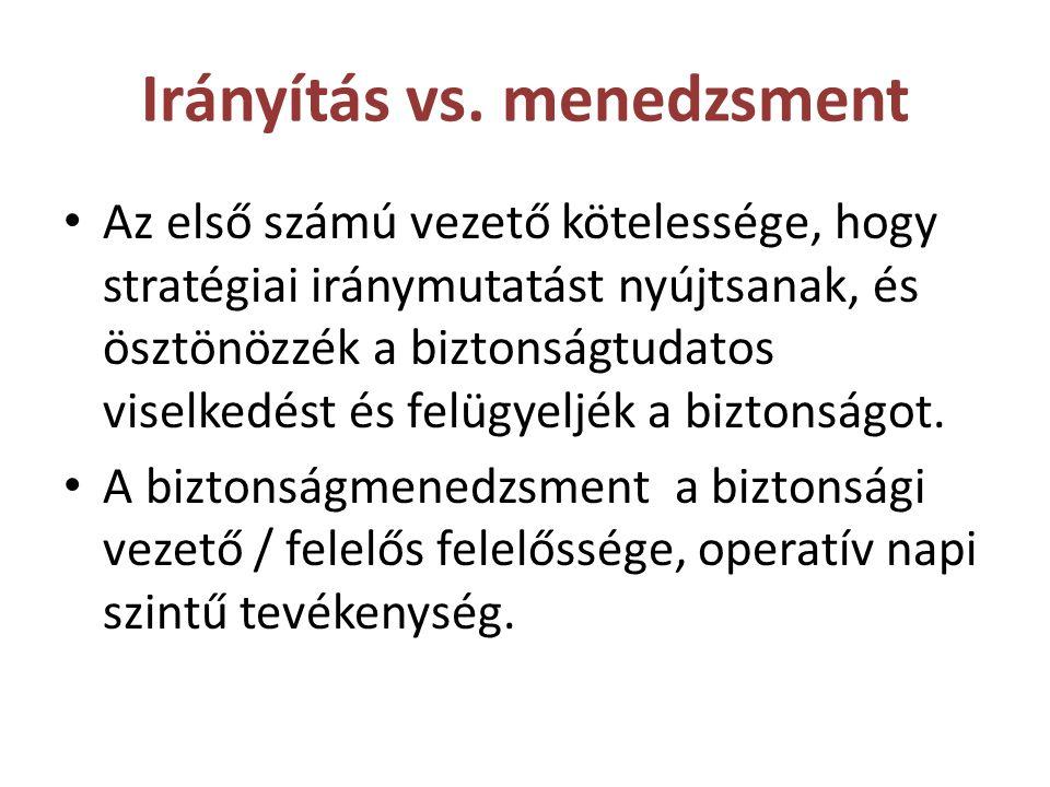 Irányítás vs. menedzsment