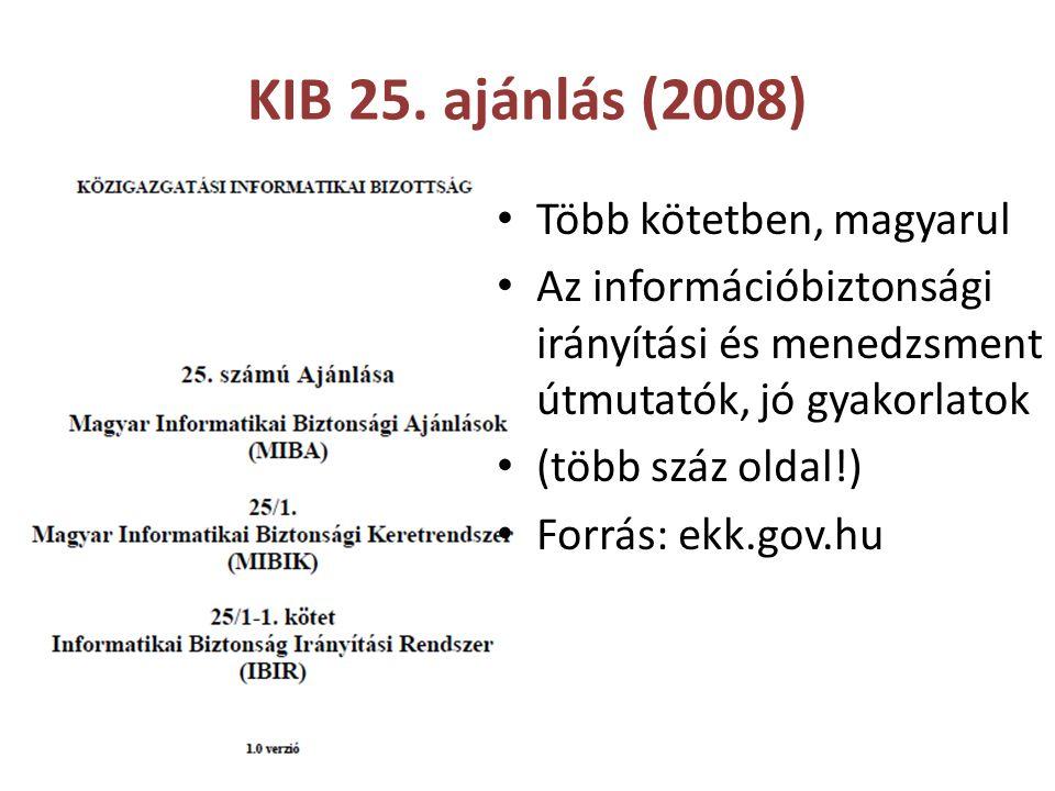 KIB 25. ajánlás (2008) Több kötetben, magyarul