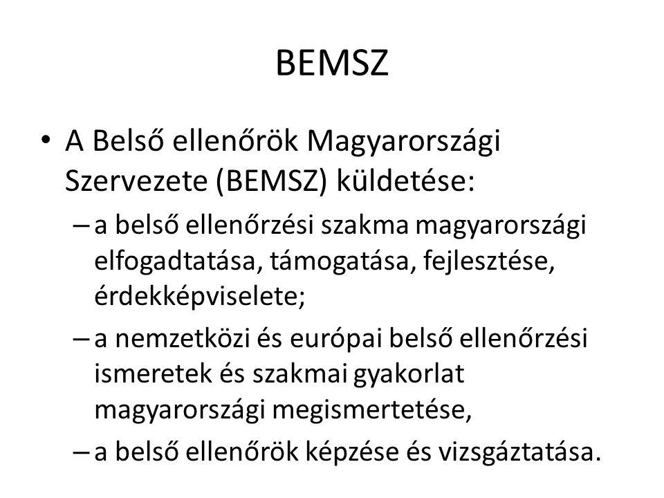 BEMSZ A Belső ellenőrök Magyarországi Szervezete (BEMSZ) küldetése: