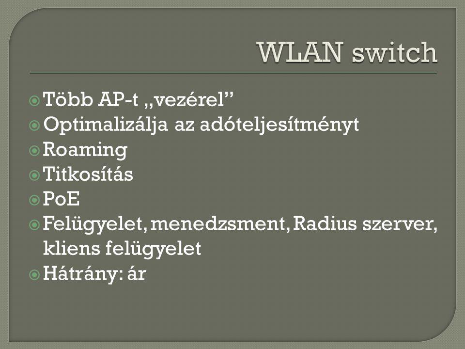 """WLAN switch Több AP-t """"vezérel Optimalizálja az adóteljesítményt"""
