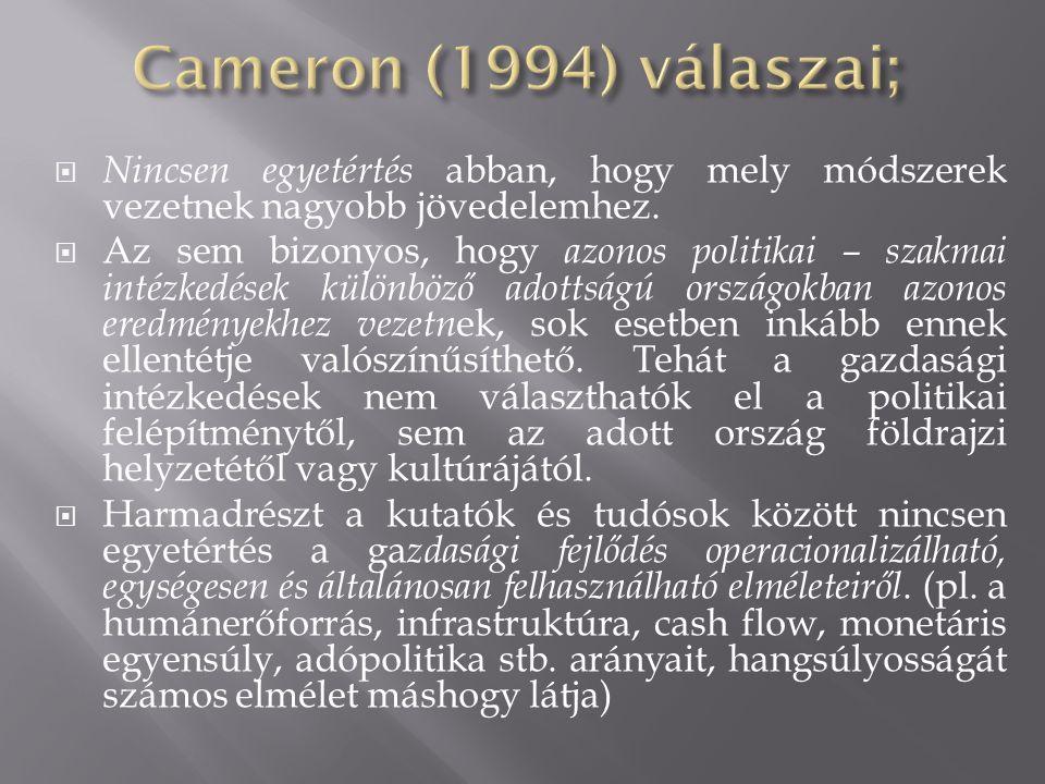 Cameron (1994) válaszai; Nincsen egyetértés abban, hogy mely módszerek vezetnek nagyobb jövedelemhez.