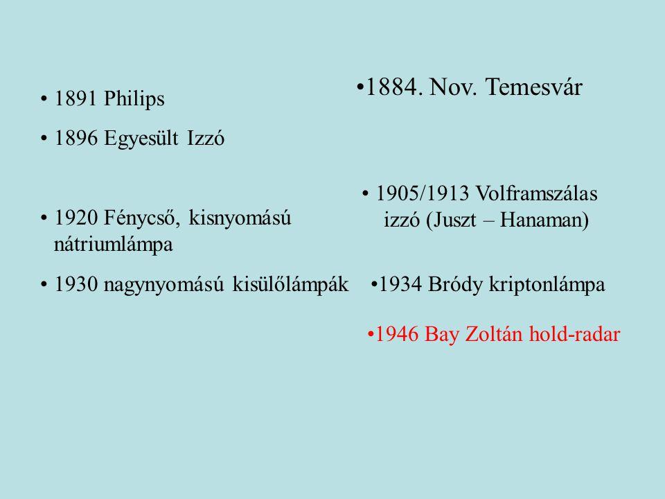 1905/1913 Volframszálas izzó (Juszt – Hanaman)