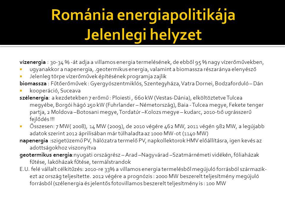 Románia energiapolitikája Jelenlegi helyzet