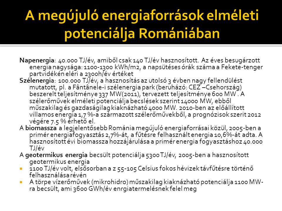 A megújuló energiaforrások elméleti potenciálja Romániában