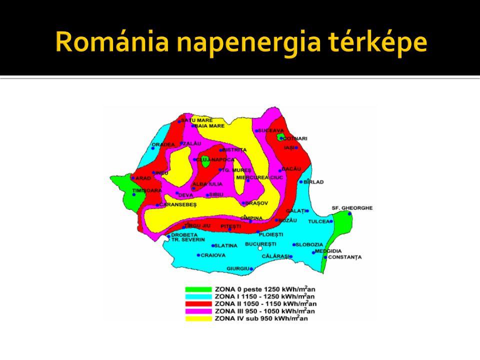 Románia napenergia térképe