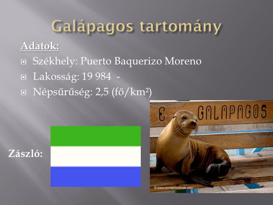 Galápagos tartomány Adatok: Székhely: Puerto Baquerizo Moreno