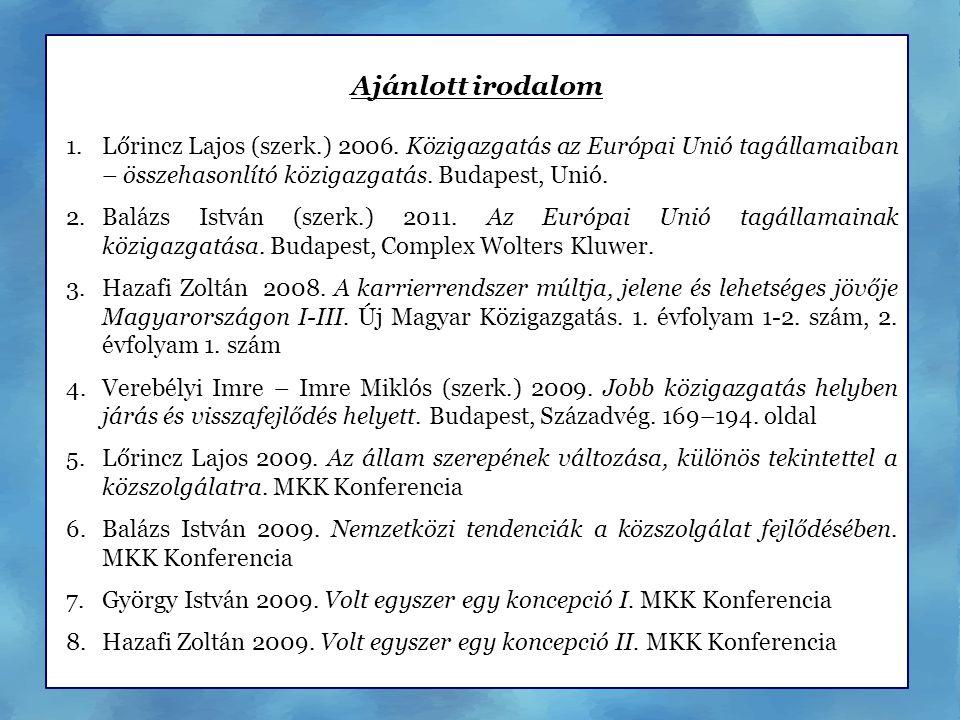 Ajánlott irodalom Lőrincz Lajos (szerk.) 2006. Közigazgatás az Európai Unió tagállamaiban – összehasonlító közigazgatás. Budapest, Unió.