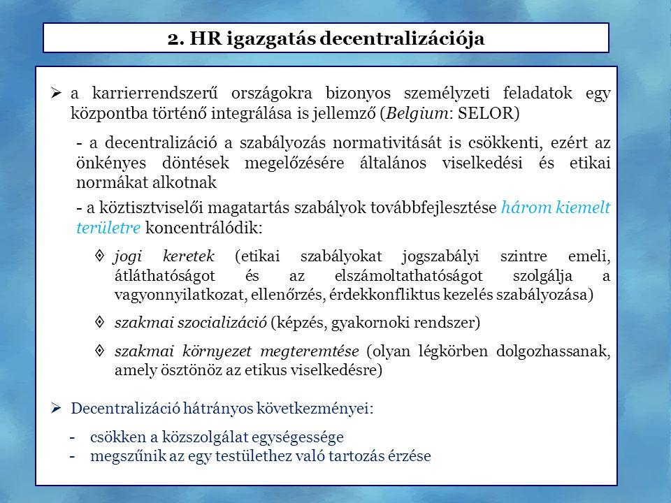 2. HR igazgatás decentralizációja