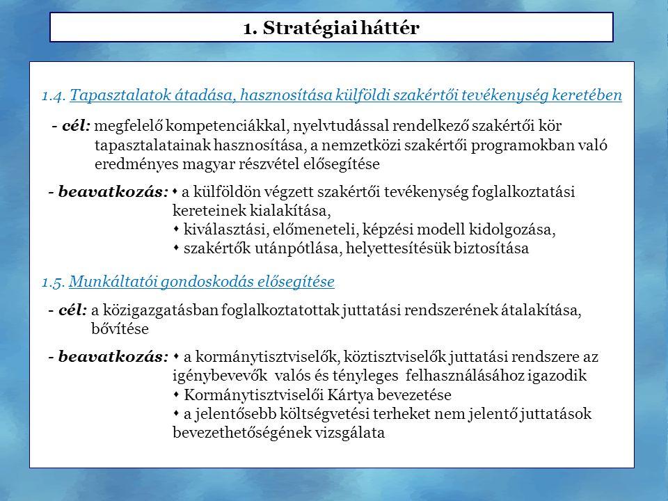 1. Stratégiai háttér 1.4. Tapasztalatok átadása, hasznosítása külföldi szakértői tevékenység keretében.