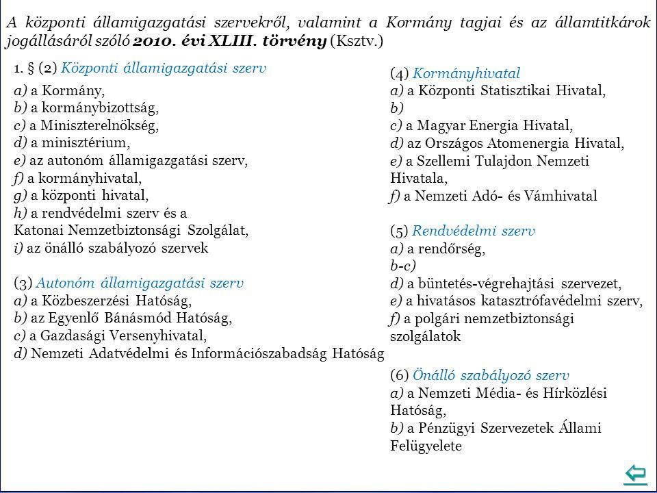 A központi államigazgatási szervekről, valamint a Kormány tagjai és az államtitkárok jogállásáról szóló 2010. évi XLIII. törvény (Ksztv.)