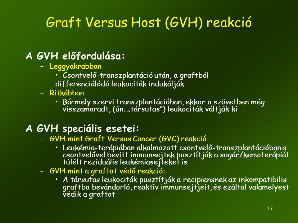 Graft Versus Host (GVH) reakció