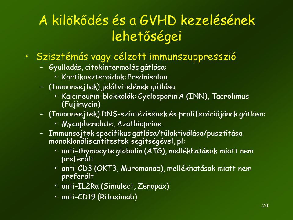 A kilökődés és a GVHD kezelésének lehetőségei