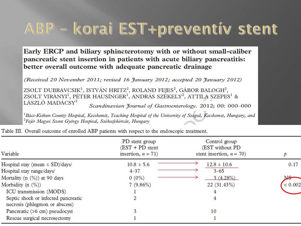 ABP – korai EST+preventív stent