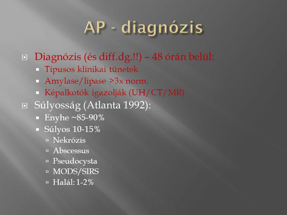 AP - diagnózis Diagnózis (és diff.dg.!!) – 48 órán belül: