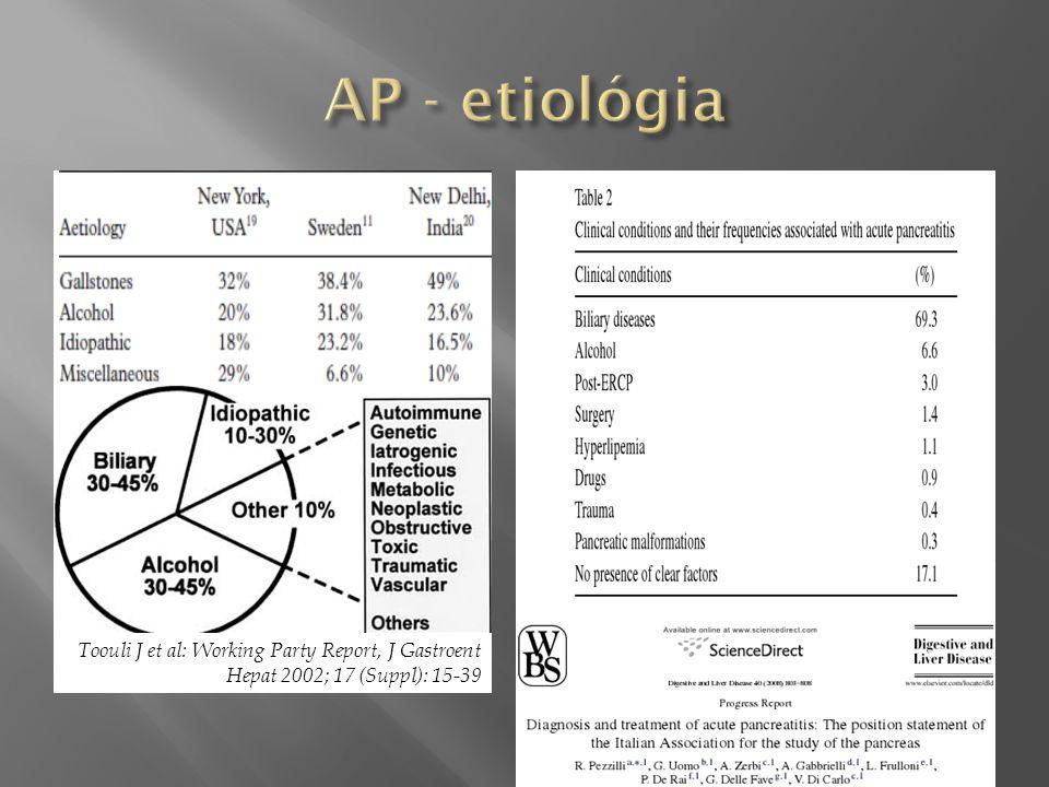 AP - etiológia Toouli J et al: Working Party Report, J Gastroent Hepat 2002; 17 (Suppl): 15-39