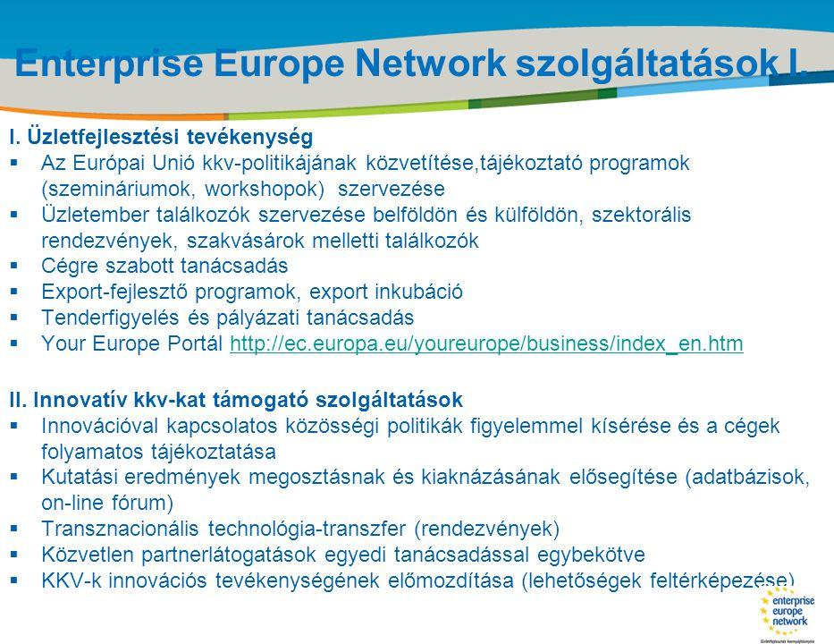 Enterprise Europe Network szolgáltatások I.