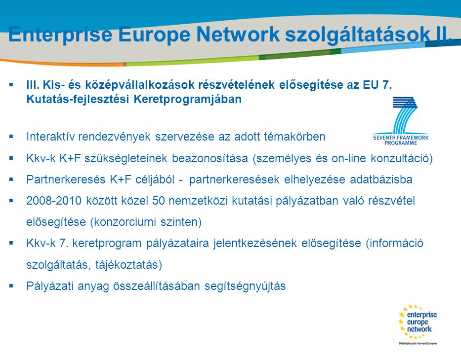 Enterprise Europe Network szolgáltatások II.