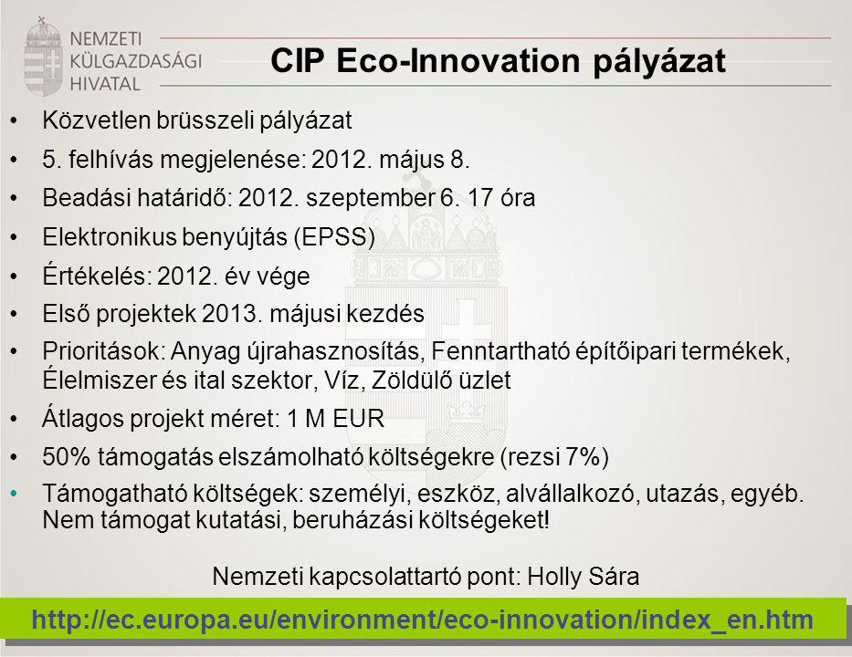 CIP Eco-Innovation pályázat