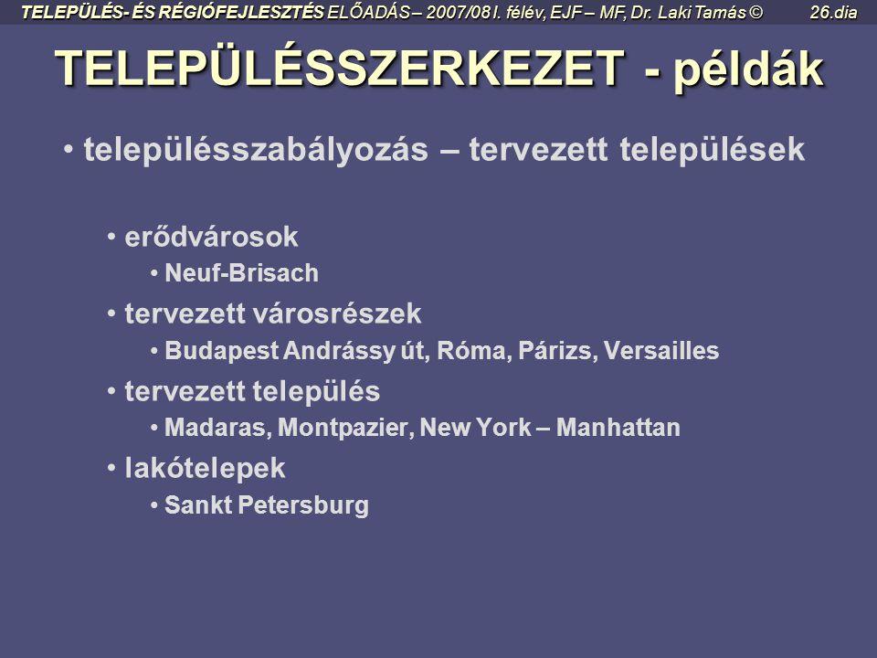 TELEPÜLÉSSZERKEZET - példák