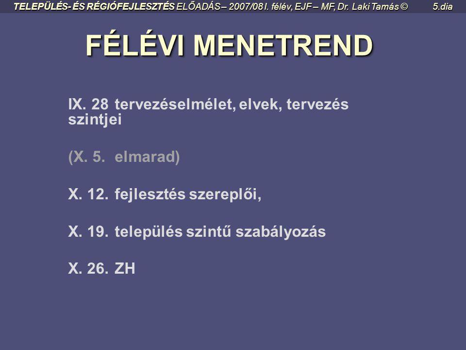 FÉLÉVI MENETREND IX. 28 tervezéselmélet, elvek, tervezés szintjei