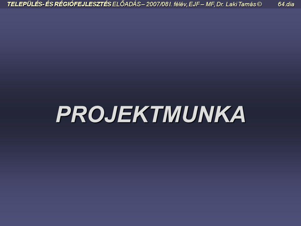 TELEPÜLÉS- ÉS RÉGIÓFEJLESZTÉS ELŐADÁS – 2007/08 I. félév, EJF – MF, Dr