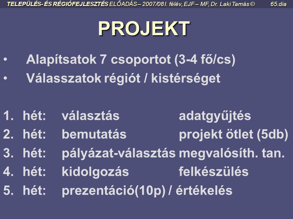 PROJEKT Alapítsatok 7 csoportot (3-4 fő/cs)