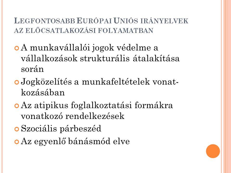 Legfontosabb Európai Uniós irányelvek az előcsatlakozási folyamatban