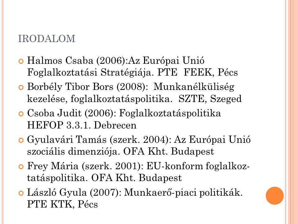 irodalom Halmos Csaba (2006):Az Európai Unió Foglalkoztatási Stratégiája. PTE FEEK, Pécs.