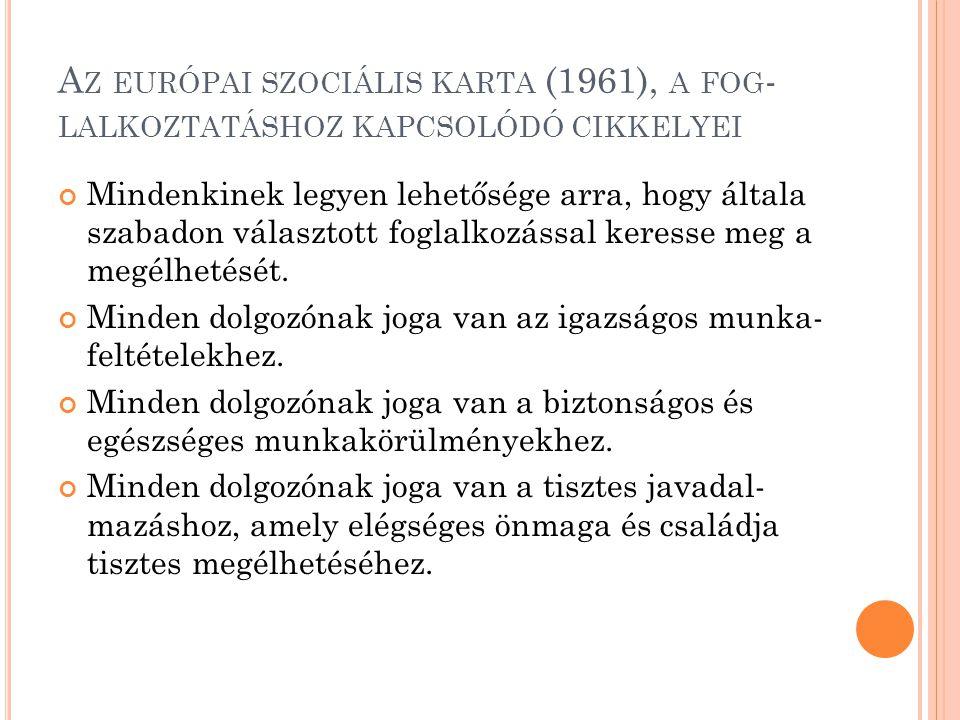 Az európai szociális karta (1961), a fog-lalkoztatáshoz kapcsolódó cikkelyei