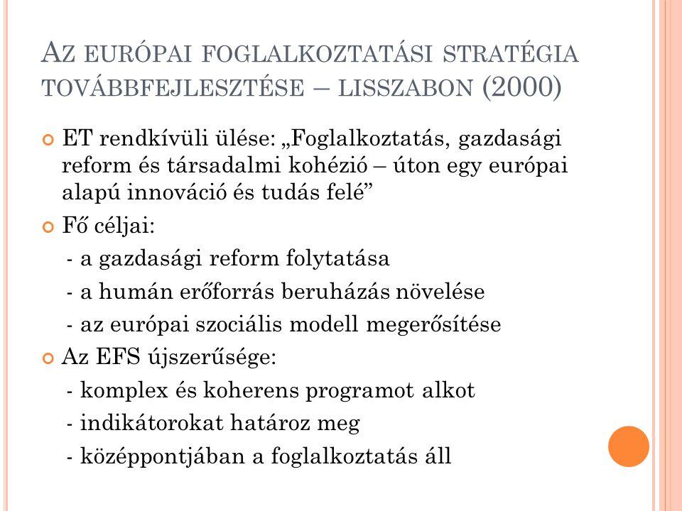Az európai foglalkoztatási stratégia továbbfejlesztése – lisszabon (2000)