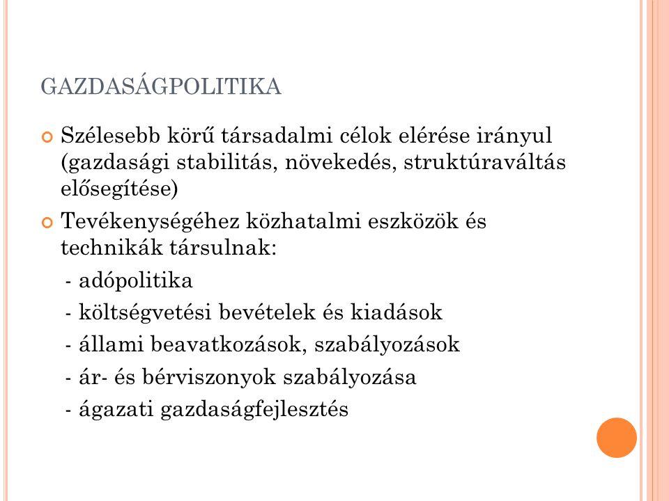 gazdaságpolitika Szélesebb körű társadalmi célok elérése irányul (gazdasági stabilitás, növekedés, struktúraváltás elősegítése)