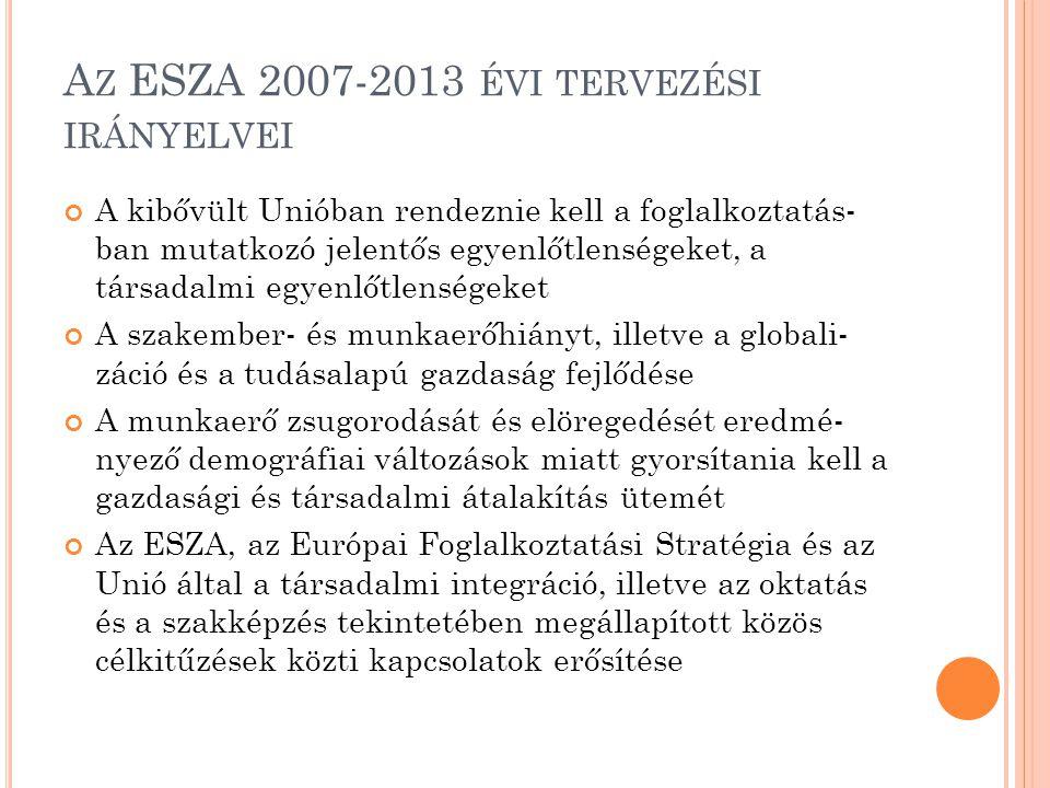 Az ESZA 2007-2013 évi tervezési irányelvei