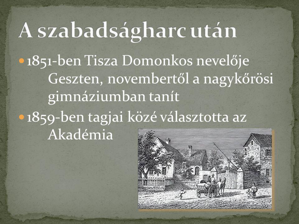 A szabadságharc után 1851-ben Tisza Domonkos nevelője Geszten, novembertől a nagykőrösi gimnáziumban tanít.